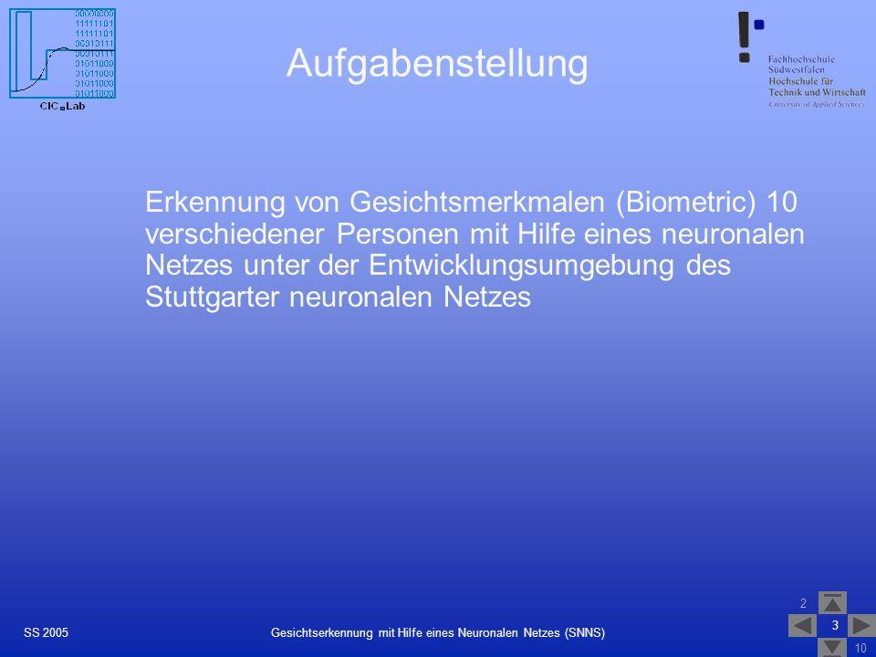 2 10 4 Gesichtserkennung mit Hilfe eines Neuronalen Netzes (SNNS)SS 2005 Aufbereitung der Bildinformationen Prinzip: Umwandlung der Graustufenbilder in eine auf 1 normierte Matrix GraustufenwerteGraustufenmatrix