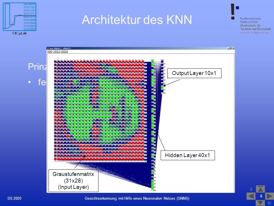 2 10 6 Gesichtserkennung mit Hilfe eines Neuronalen Netzes (SNNS)SS 2005 Architektur des KNN Prinzip: feedforward-Netz mit folgender Typologie Graustu