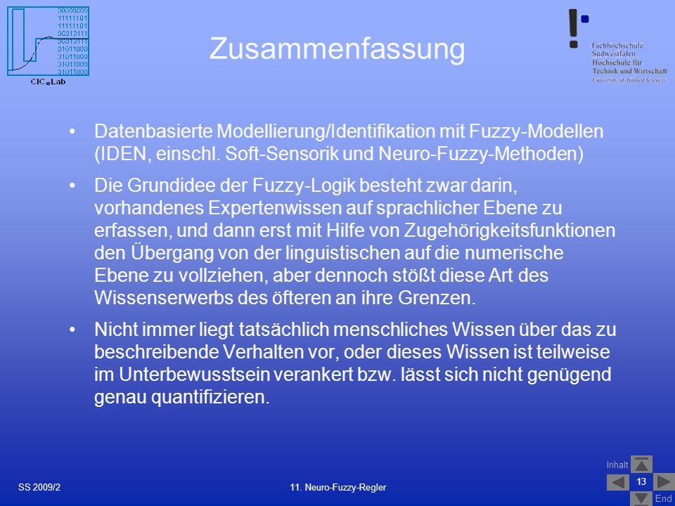 Inhalt End Zusammenfassung Datenbasierte Modellierung/Identifikation mit Fuzzy-Modellen (IDEN, einschl. Soft-Sensorik und Neuro-Fuzzy-Methoden) Die Gr