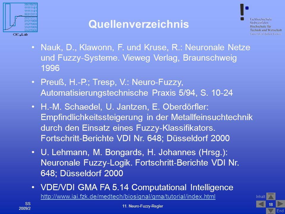 Inhalt End Quellenverzeichnis 18 11. Neuro-Fuzzy-Regler SS 2009/2 Nauk, D., Klawonn, F. und Kruse, R.: Neuronale Netze und Fuzzy-Systeme. Vieweg Verla