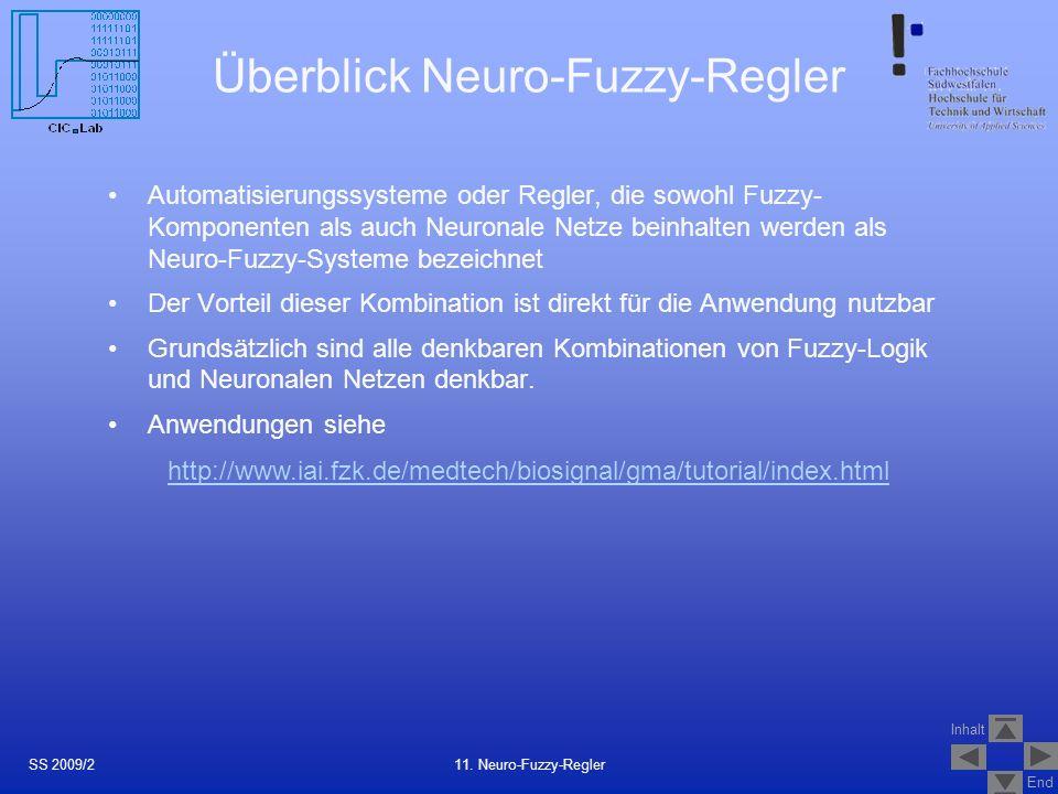 Inhalt End Überblick Neuro-Fuzzy-Regler Automatisierungssysteme oder Regler, die sowohl Fuzzy- Komponenten als auch Neuronale Netze beinhalten werden