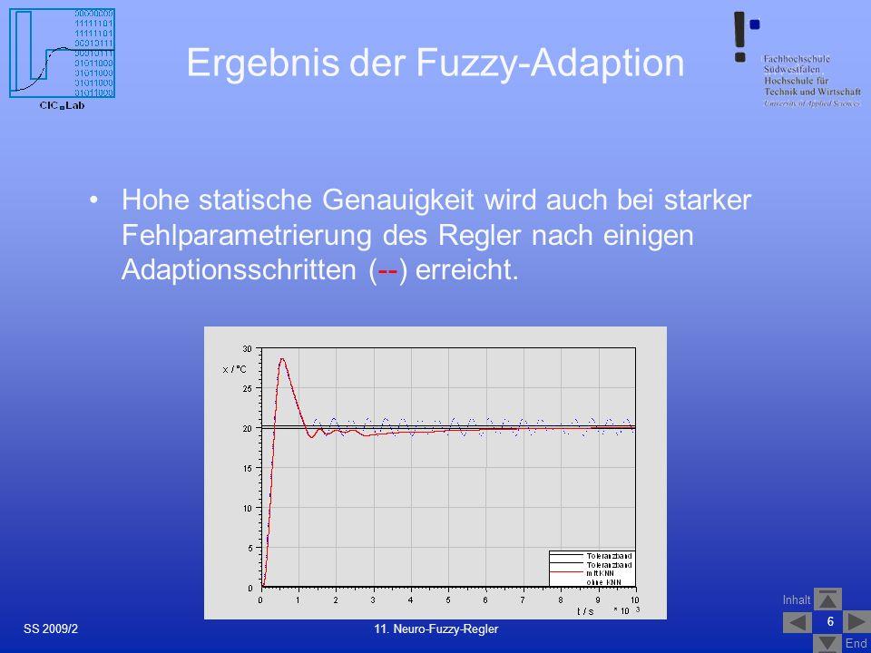 Inhalt End Optimale Reglerparameter aus dem KNN für die Adaption des Neuro-Fuzzy-Reglers in wenigen Schritten Die Reglerparameter wurden evolutionär optimiert und dann dem KNN für verschiedene Arbeitspunkte antrainiert.