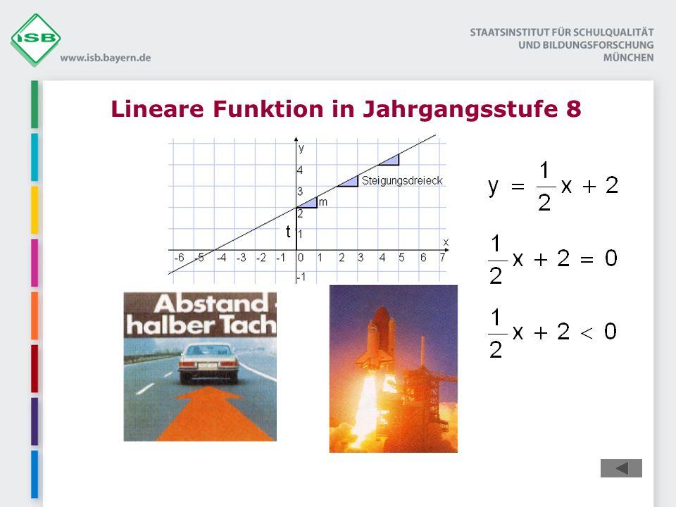 Lineare Funktion in Jahrgangsstufe 8 t aus http://modellversuch-mathematik.he.schule.de/