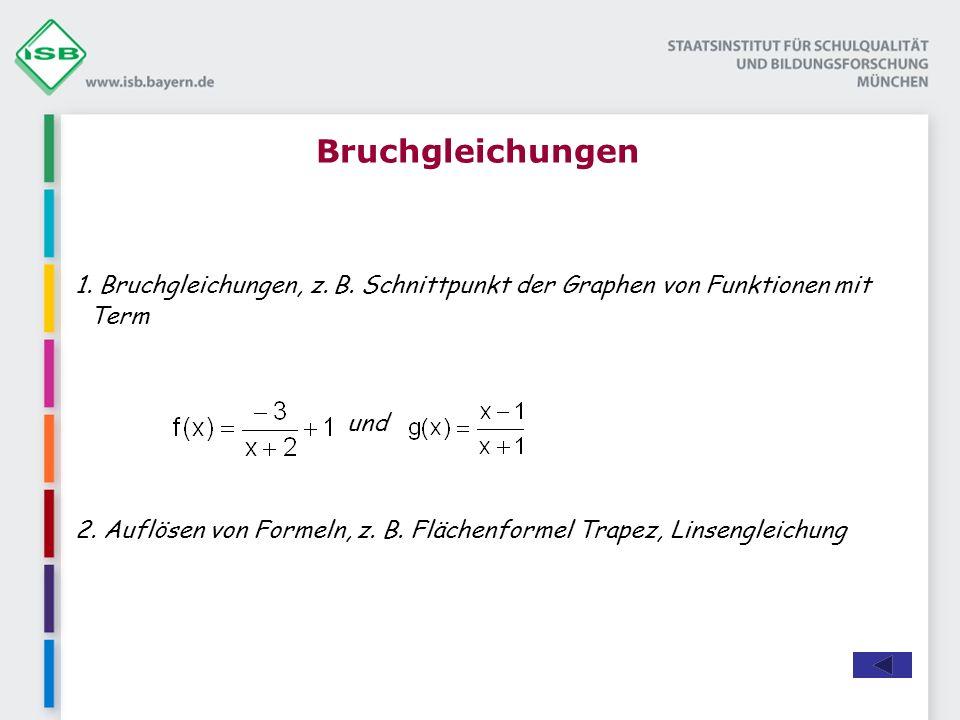 Bruchgleichungen 1.Bruchgleichungen, z. B. Schnittpunkt der Graphen von Funktionen mit Term und 2.