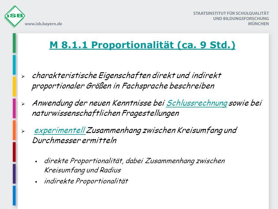 M 8.1.2 Funktion und Term (ca.9 Std.) unterschiedlichste funktionale Abhängigkeiten (z.