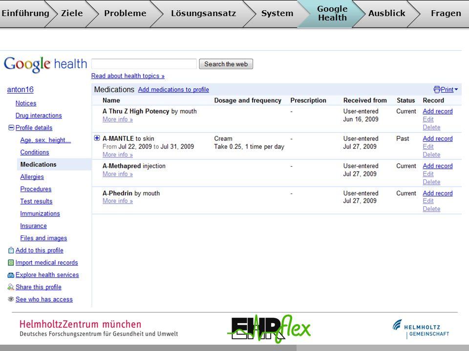EinführungZieleProblemeLösungsansatzSystem Google Health AusblickFragen