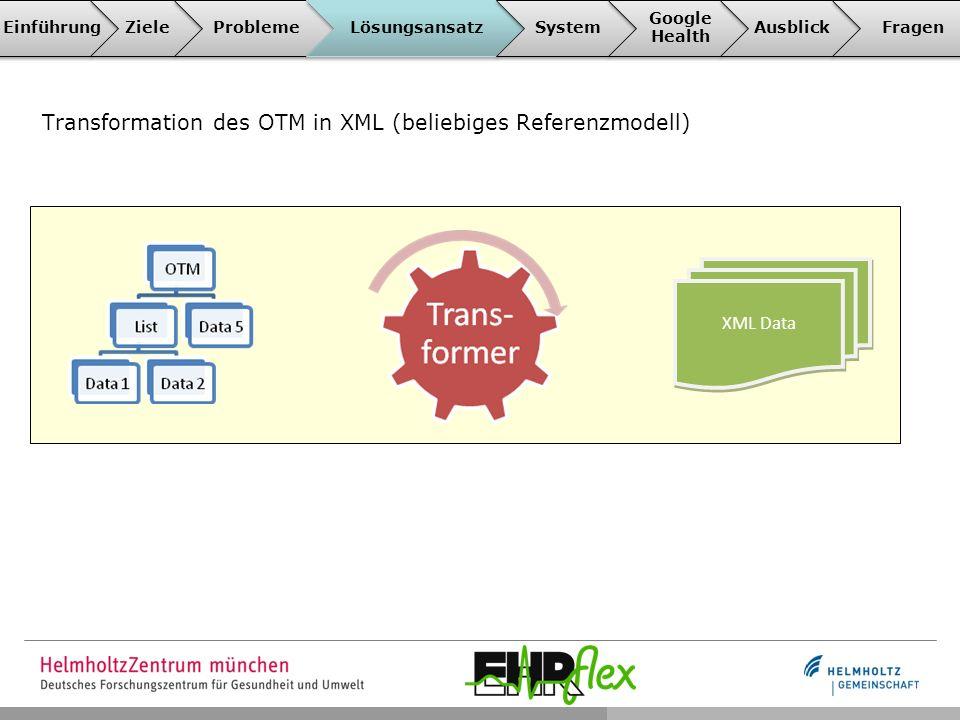Transformation des OTM in XML (beliebiges Referenzmodell) XML Data EinführungZieleProblemeLösungsansatzSystem Google Health AusblickFragen