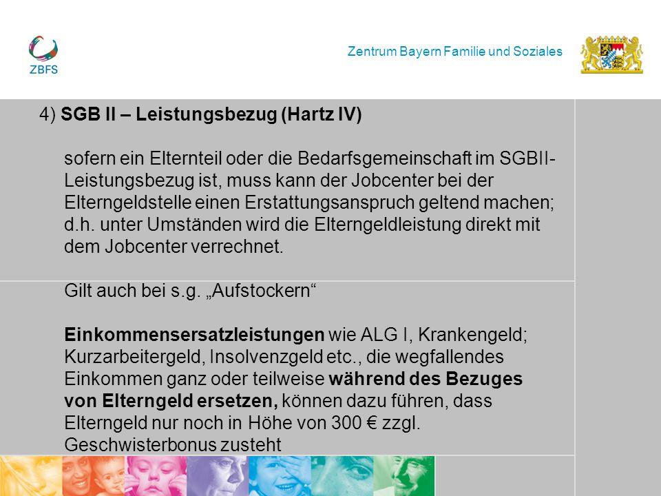 Zentrum Bayern Familie und Soziales 4) SGB II – Leistungsbezug (Hartz IV) sofern ein Elternteil oder die Bedarfsgemeinschaft im SGBII- Leistungsbezug