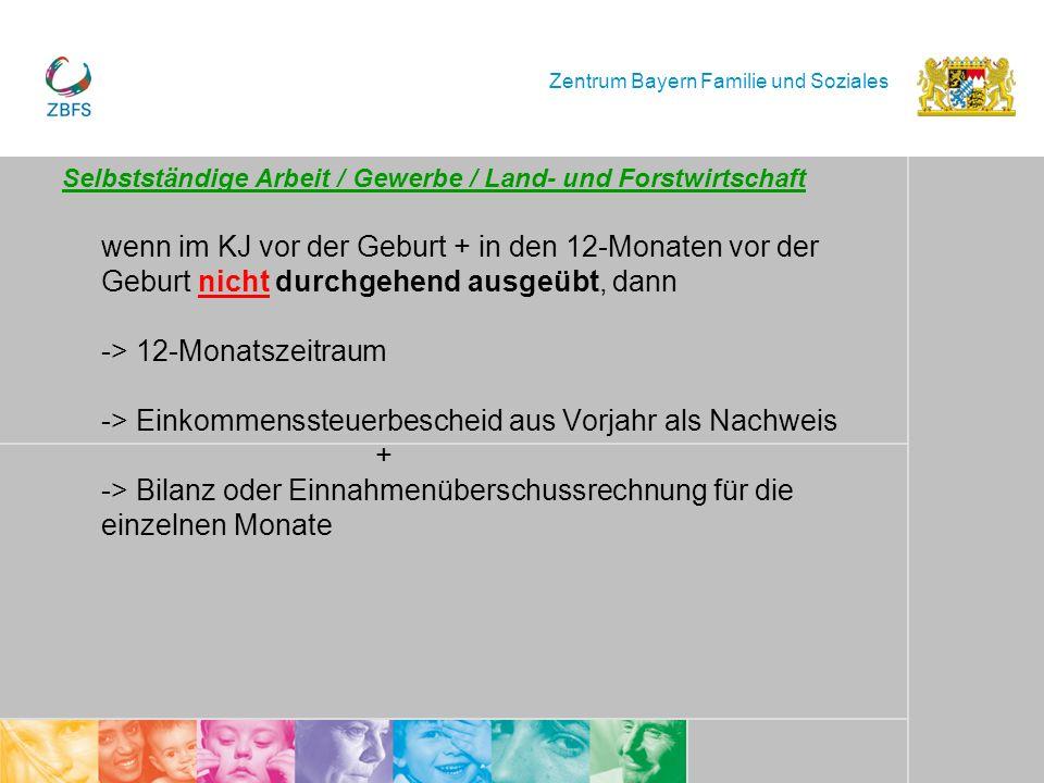 Zentrum Bayern Familie und Soziales Selbstständige Arbeit / Gewerbe / Land- und Forstwirtschaft wenn im KJ vor der Geburt + in den 12-Monaten vor der