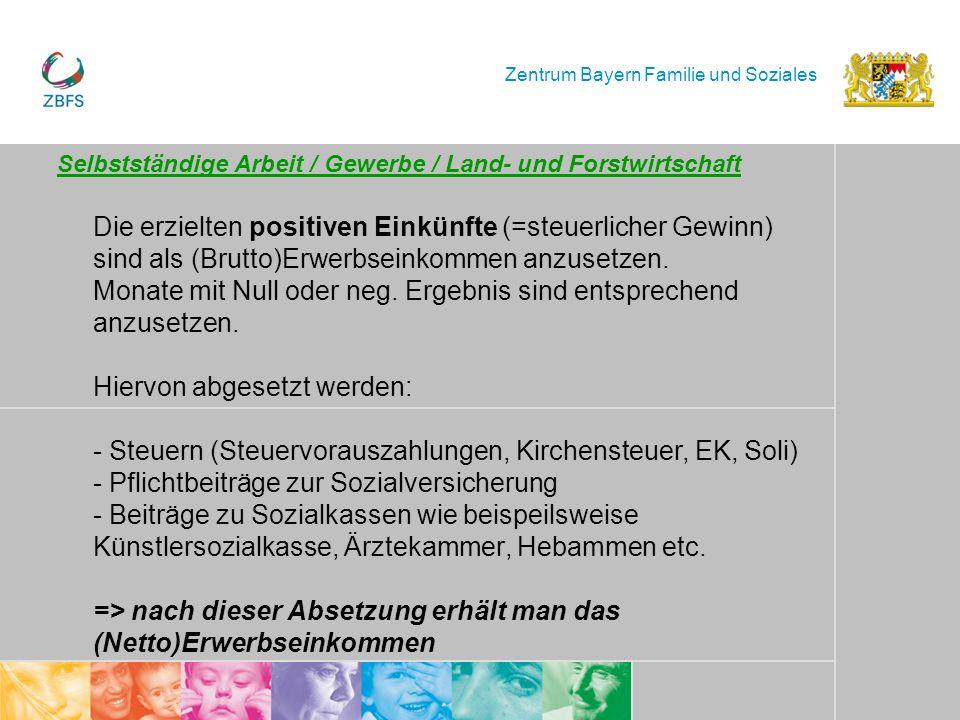 Zentrum Bayern Familie und Soziales Selbstständige Arbeit / Gewerbe / Land- und Forstwirtschaft Die erzielten positiven Einkünfte (=steuerlicher Gewin