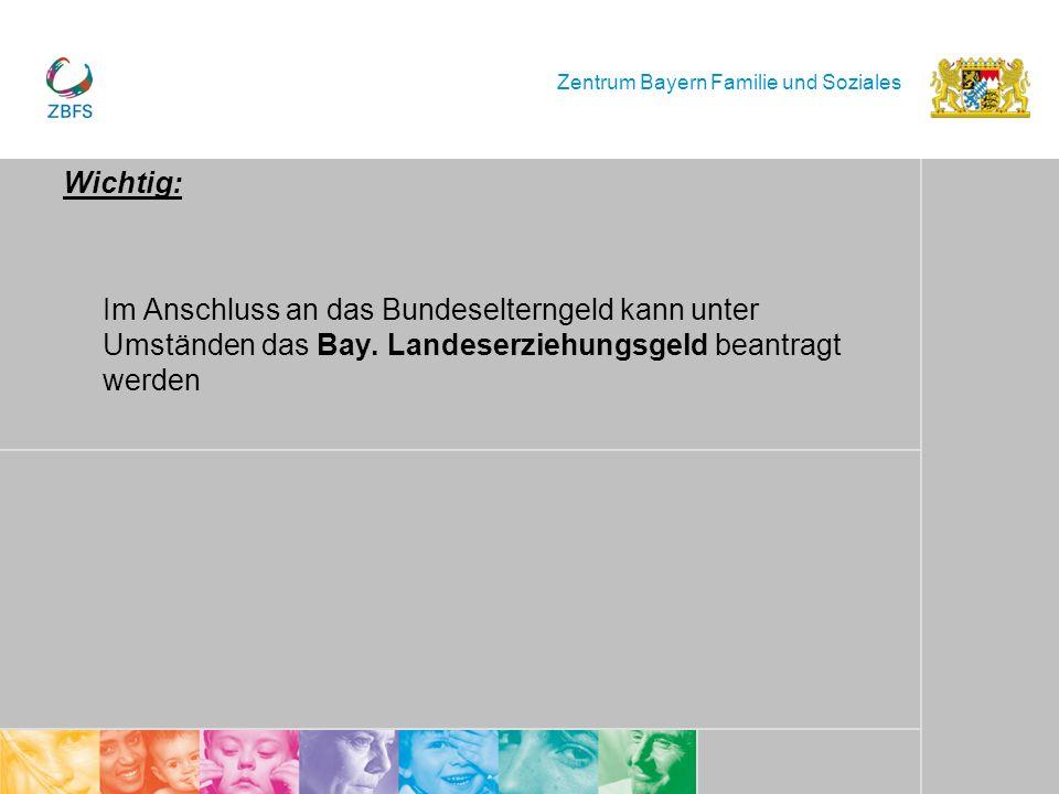 Zentrum Bayern Familie und Soziales Wichtig: Im Anschluss an das Bundeselterngeld kann unter Umständen das Bay. Landeserziehungsgeld beantragt werden