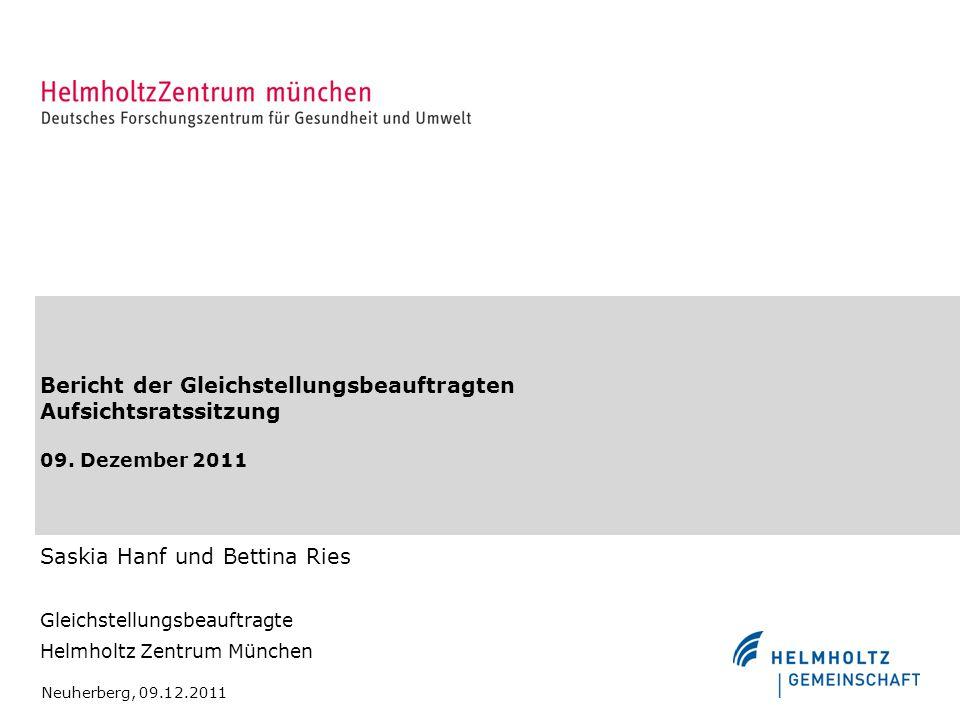 Bericht der Gleichstellungsbeauftragten Aufsichtsratssitzung 09. Dezember 2011 Saskia Hanf und Bettina Ries Gleichstellungsbeauftragte Helmholtz Zentr