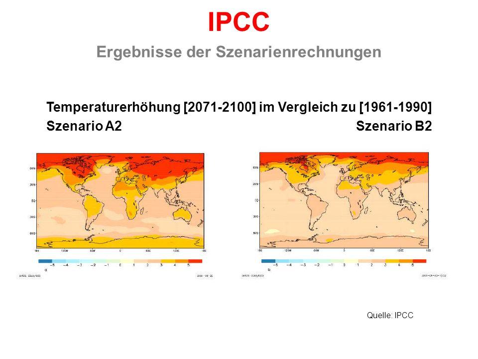 Temperaturerhöhung [2071-2100] im Vergleich zu [1961-1990] Ergebnisse der Szenarienrechnungen IPCC Szenario A2 Szenario B2 Quelle: IPCC