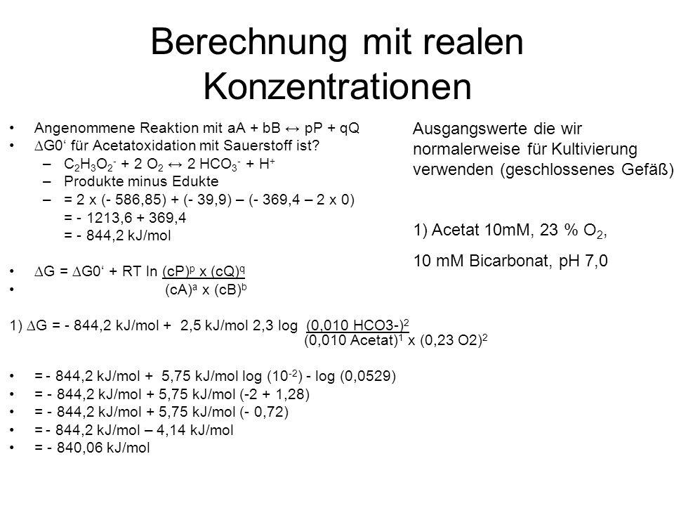Berechnung mit realen Konzentrationen Angenommene Reaktion mit aA + bB pP + qQ G0 für Acetatoxidation mit Sauerstoff ist.