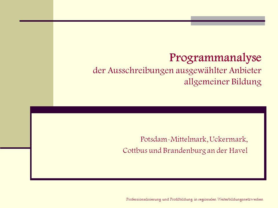 Professionalisierung und Profilbildung in regionalen Weiterbildungsnetzwerken Programmanalyse der Ausschreibungen ausgewählter Anbieter allgemeiner Bi