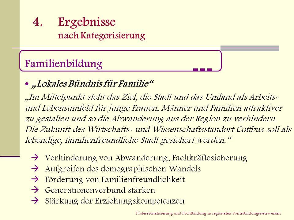 Professionalisierung und Profilbildung in regionalen Weiterbildungsnetzwerken 4.Ergebnisse nach Kategorisierung Familienbildung Lokales Bündnis für Fa