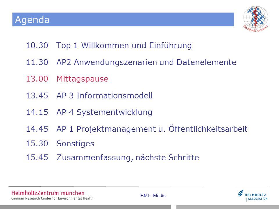 IBMI - Medis Agenda 10.30 Top 1 Willkommen und Einführung 11.30 AP2 Anwendungszenarien und Datenelemente 13.00 Mittagspause 13.45 AP 3 Informationsmodell 14.15 AP 4 Systementwicklung 14.45 AP 1 Projektmanagement u.