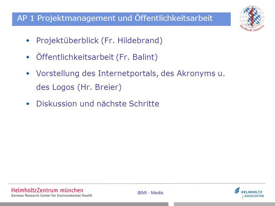 IBMI - Medis AP 1 Projektmanagement und Öffentlichkeitsarbeit Projektüberblick (Fr.