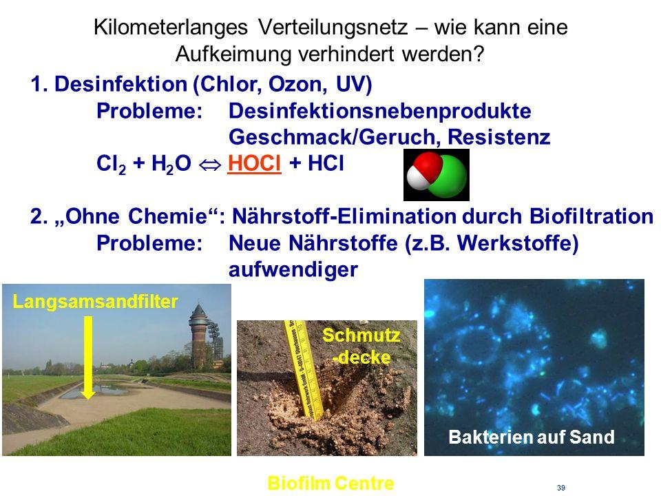Kilometerlanges Verteilungsnetz – wie kann eine Aufkeimung verhindert werden? 39 Biofilm Centre 1. Desinfektion (Chlor, Ozon, UV) Probleme: Desinfekti