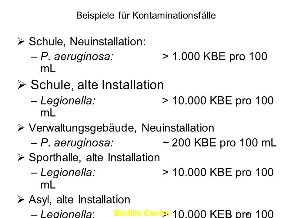 46 Beispiele für Kontaminationsfälle Schule, Neuinstallation: –P. aeruginosa: > 1.000 KBE pro 100 mL Schule, alte Installation –Legionella: > 10.000 K
