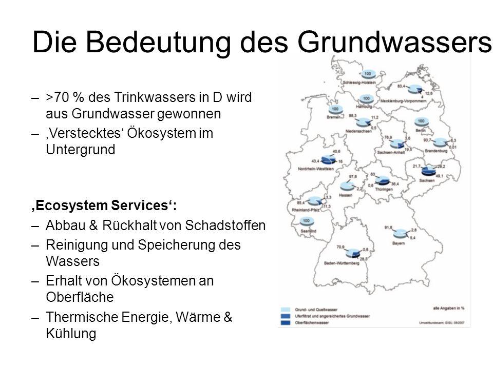 Die Bedeutung des Grundwassers –>70 % des Trinkwassers in D wird aus Grundwasser gewonnen –Verstecktes Ökosystem im Untergrund Ecosystem Services: –Ab