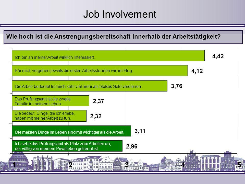 12345 Job Involvement Wie hoch ist die Anstrengungsbereitschaft innerhalb der Arbeitstätigkeit? 2,32 Die bedeut. Dinge, die ich erlebe, haben mit mein