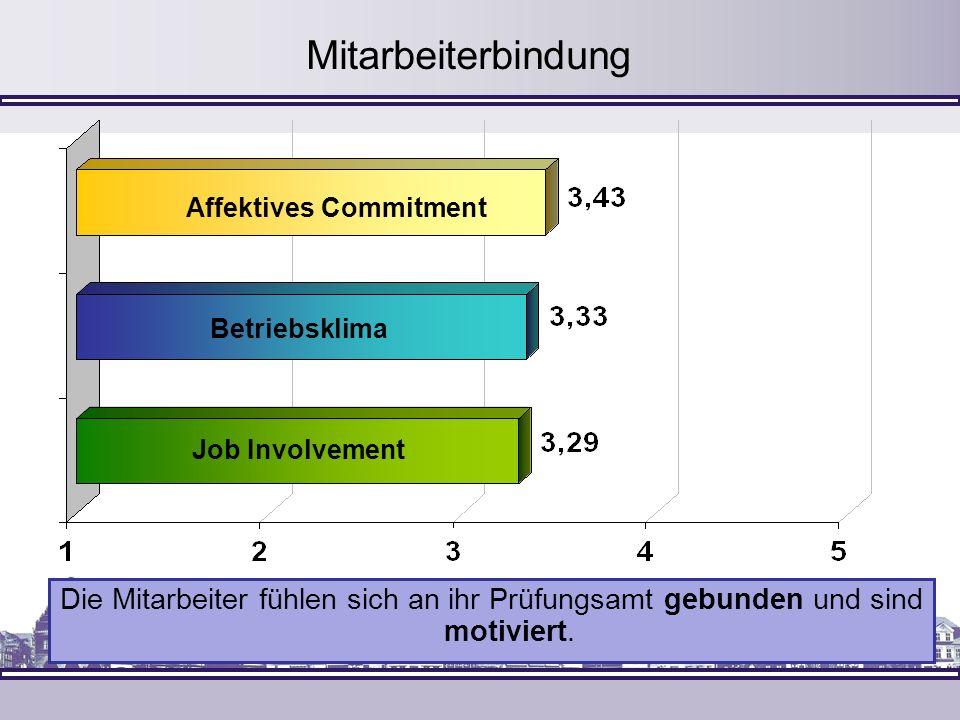 Affektives Commitment Job Involvement Betriebsklima Mitarbeiterbindung Die Mitarbeiter fühlen sich an ihr Prüfungsamt gebunden und sind motiviert.