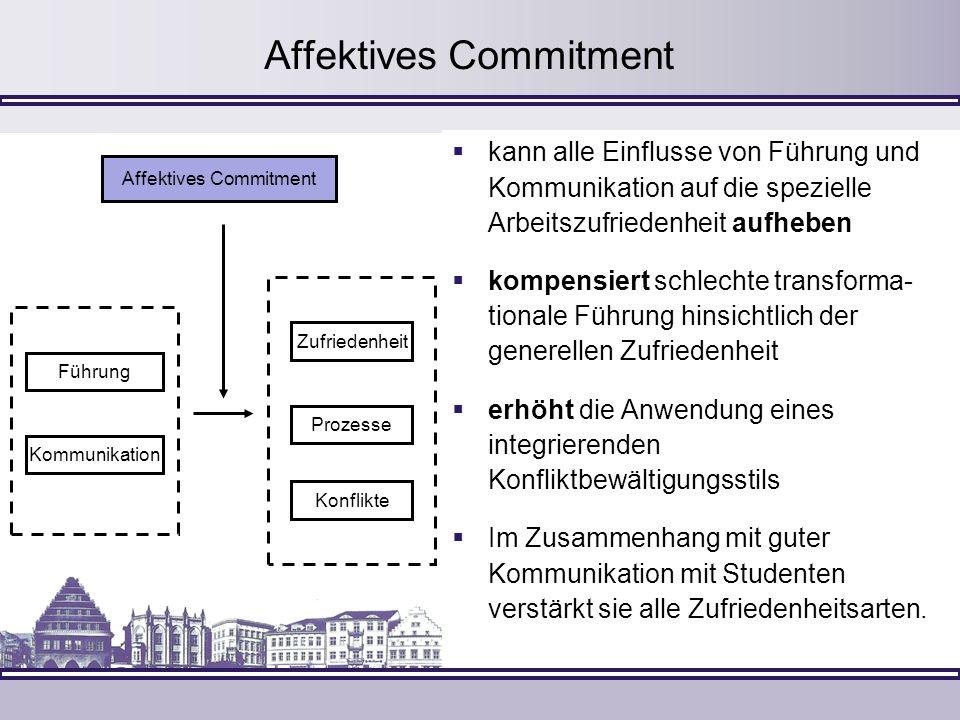 Affektives Commitment kann alle Einflusse von Führung und Kommunikation auf die spezielle Arbeitszufriedenheit aufheben kompensiert schlechte transfor