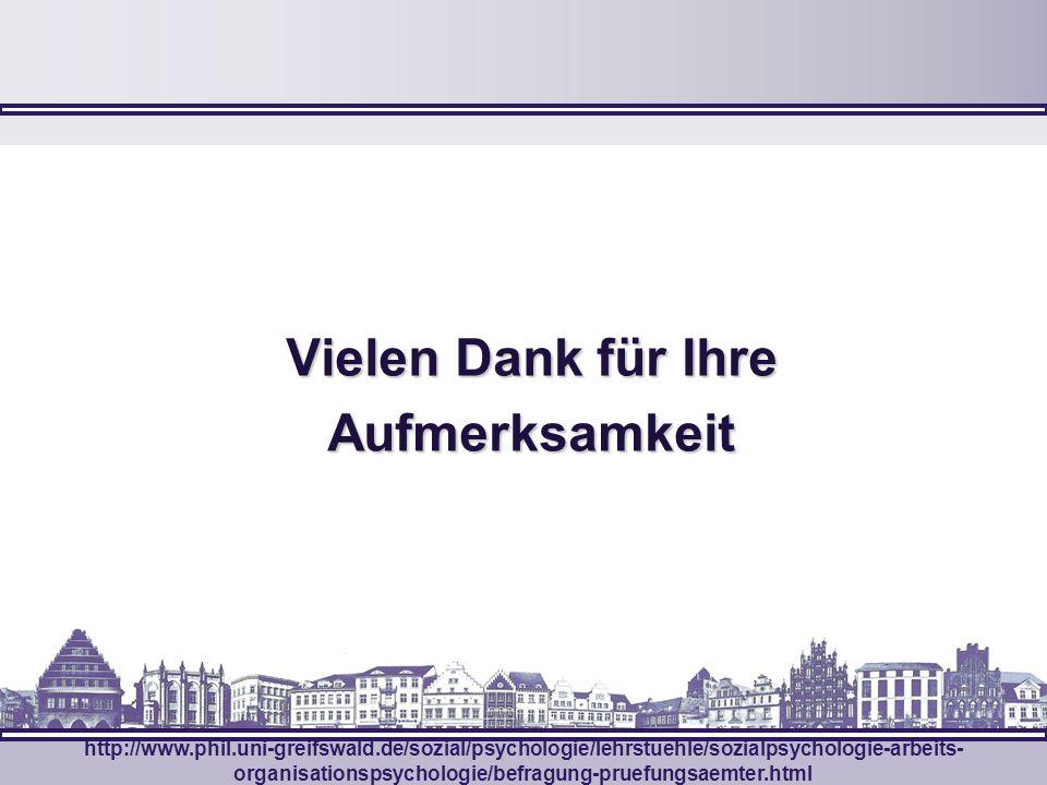 VielenDank für Ihre Aufmerksamkeit Vielen Dank für Ihre Aufmerksamkeit http://www.phil.uni-greifswald.de/sozial/psychologie/lehrstuehle/sozialpsycholo