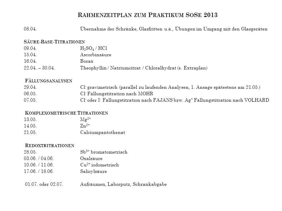 R AHMENZEITPLAN ZUM P RAKTIKUM S O S E 2013 08.04.Übernahme der Schränke, Glasfritten u.ä., Übungen im Umgang mit den Glasgeräten S ÄURE -B ASE -T ITR