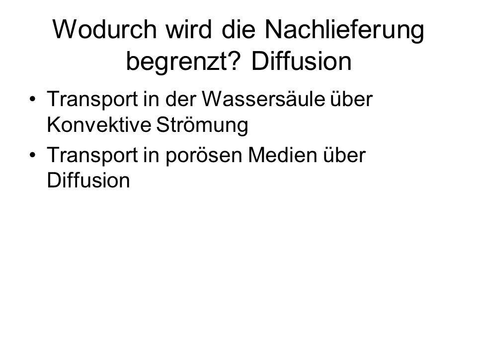 Wodurch wird die Nachlieferung begrenzt? Diffusion Transport in der Wassersäule über Konvektive Strömung Transport in porösen Medien über Diffusion