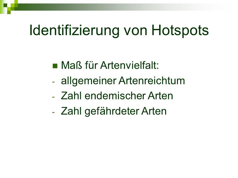 Identifizierung von Hotspots Maß für Artenvielfalt: - allgemeiner Artenreichtum - Zahl endemischer Arten - Zahl gefährdeter Arten