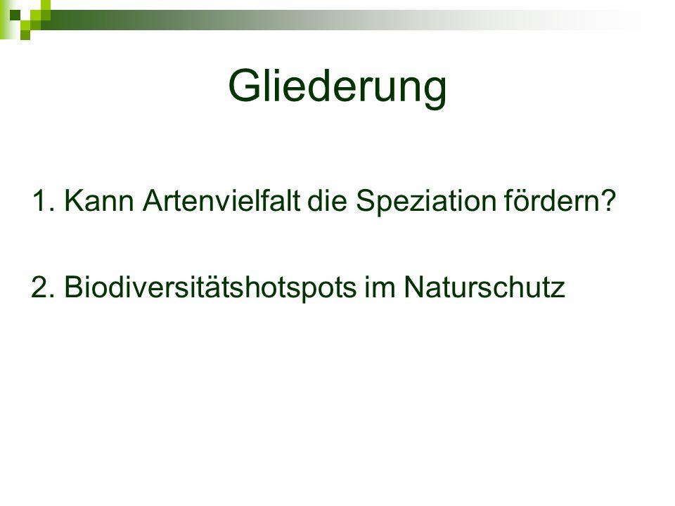 1.Kann Artenvielfalt die Speziation fördern.