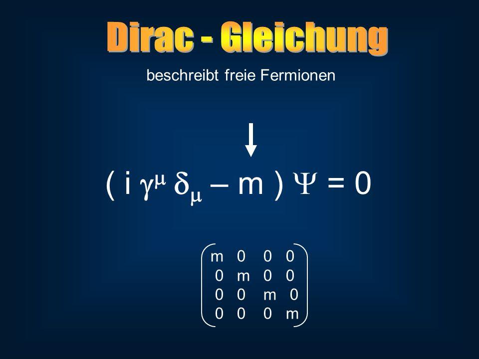 beschreibt freie Fermionen ( i – m ) = 0 m 0 0 0 0 m 0 0 0 0 m 0 0 0 0 m
