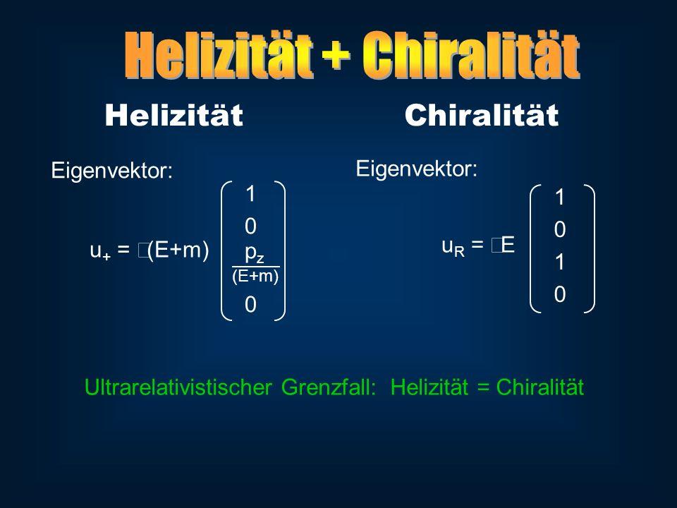 1 0 p z (E+m) 0 u + = (E+m) HelizitätChiralität 1 0 1 0 u R = E Eigenvektor: Ultrarelativistischer Grenzfall: Helizität = Chiralität
