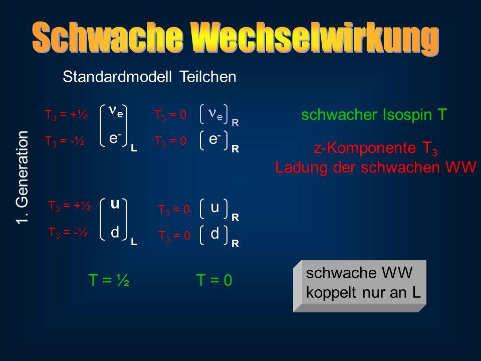 e e - L Standardmodell Teilchen e-e- R udud L d R u R e R schwacher Isospin T T = ½ 1. Generation T = 0 z-Komponente T 3 Ladung der schwachen WW T 3 =