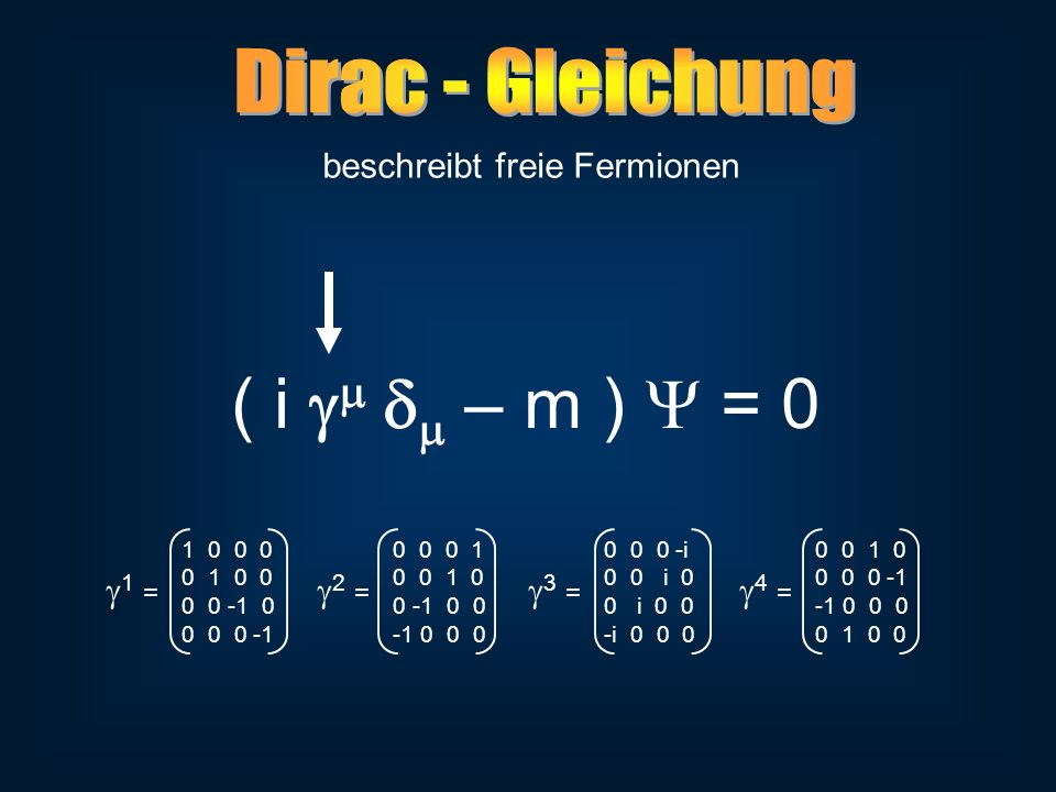 beschreibt freie Fermionen ( i – m ) = 0 1 0 0 00 0 0 10 0 0 -i0 0 1 0 0 1 0 00 0 1 00 0 i 00 0 0 -1 0 0 -1 00 -1 0 00 i 0 0-1 0 0 0 0 0 0 -1-1 0 0 0-