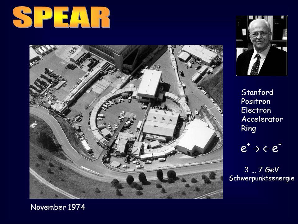 Stanford Positron Electron Accelerator Ring e + e - 3 … 7 GeV Schwerpunktsenergie November 1974