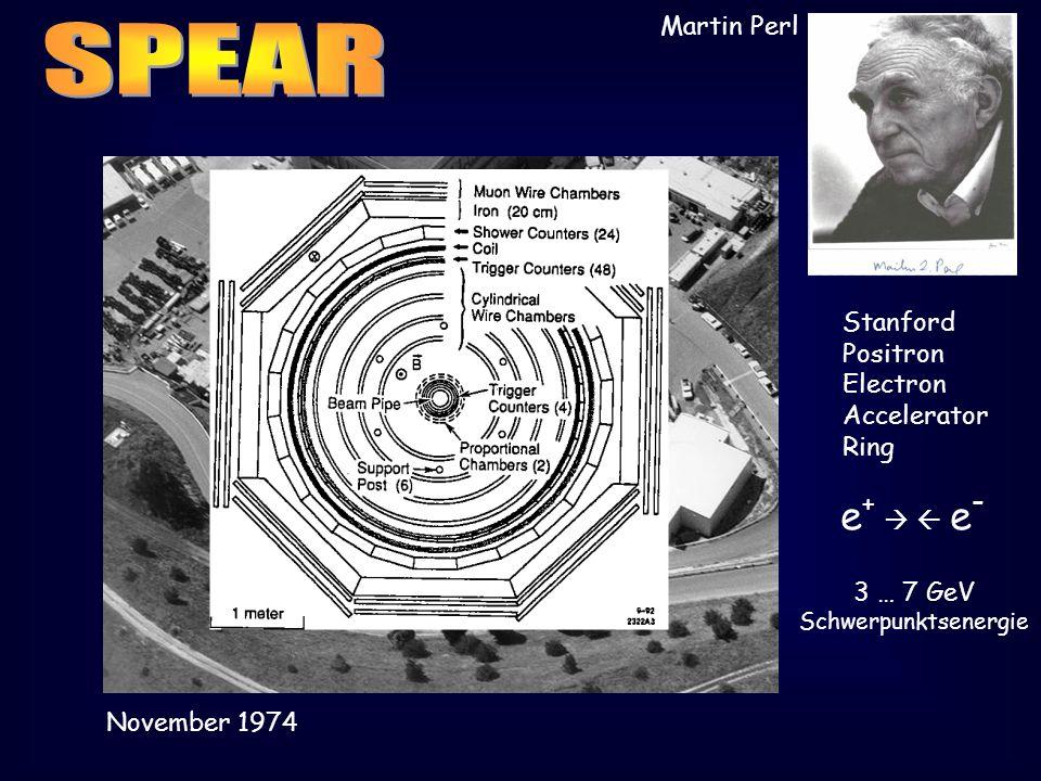 Stanford Positron Electron Accelerator Ring e + e - 3 … 7 GeV Schwerpunktsenergie November 1974 Martin Perl