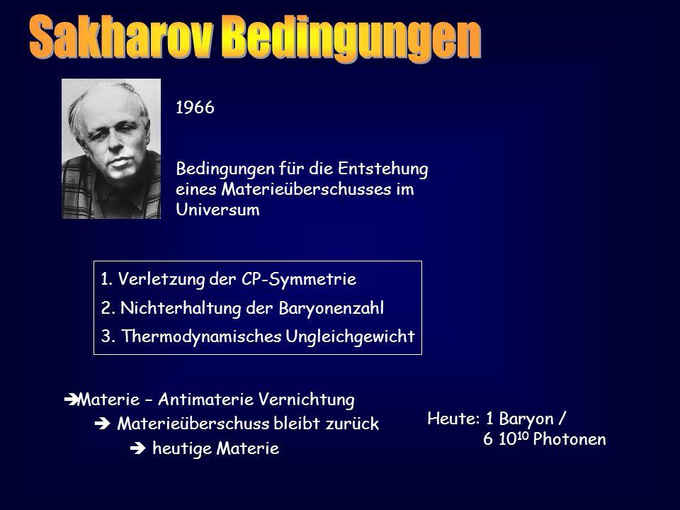 1966 Bedingungen für die Entstehung eines Materieüberschusses im Universum 1. Verletzung der CP-Symmetrie 2. Nichterhaltung der Baryonenzahl 3. Thermo