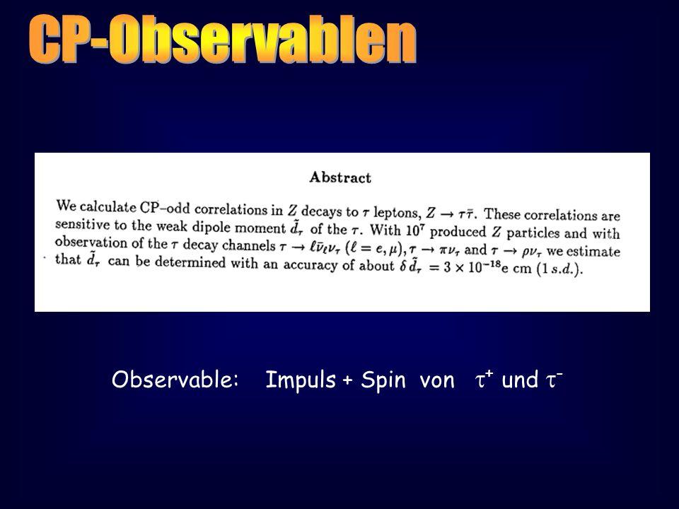 Observable: Impuls + Spin von + und -