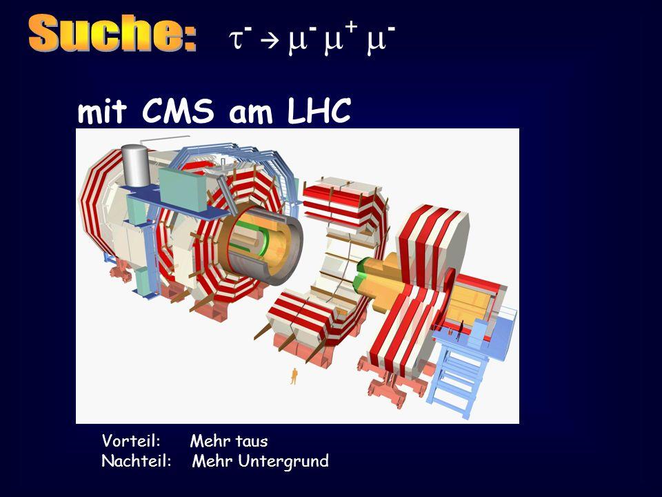 - - + - mit CMS am LHC Vorteil: Mehr taus Nachteil: Mehr Untergrund