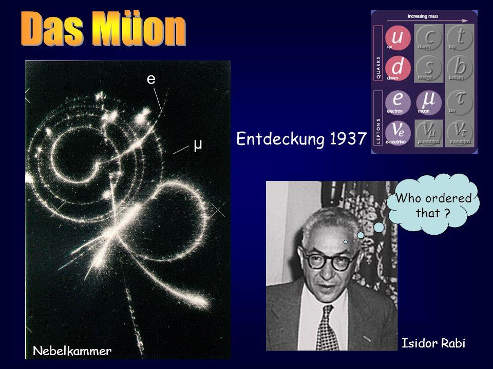 µ e Entdeckung 1937 Nebelkammer Who ordered that ? Isidor Rabi