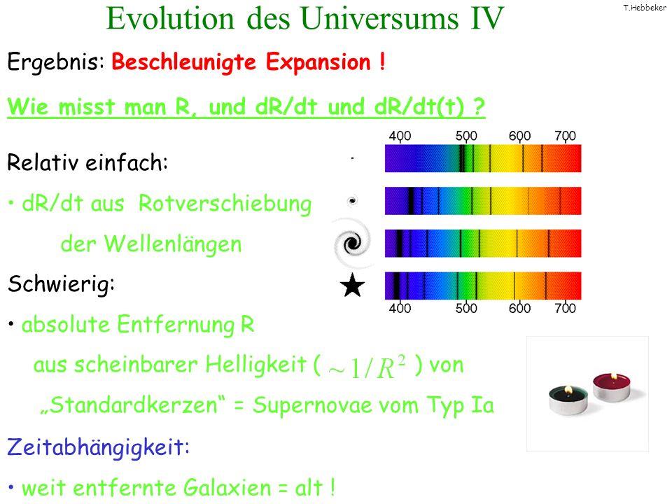 T.Hebbeker Evolution des Universums IV Ergebnis: Beschleunigte Expansion ! Wie misst man R, und dR/dt und dR/dt(t) ? Relativ einfach: dR/dt aus Rotver