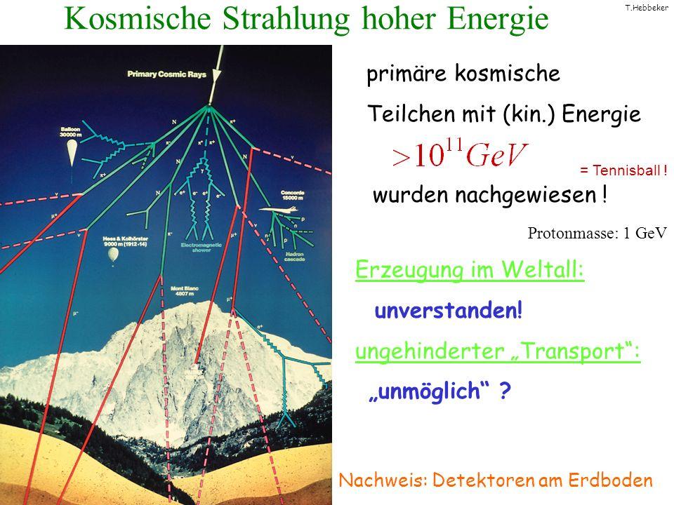 T.Hebbeker Kosmische Strahlung hoher Energie Nachweis: Detektoren am Erdboden primäre kosmische Teilchen mit (kin.) Energie wurden nachgewiesen ! = Te