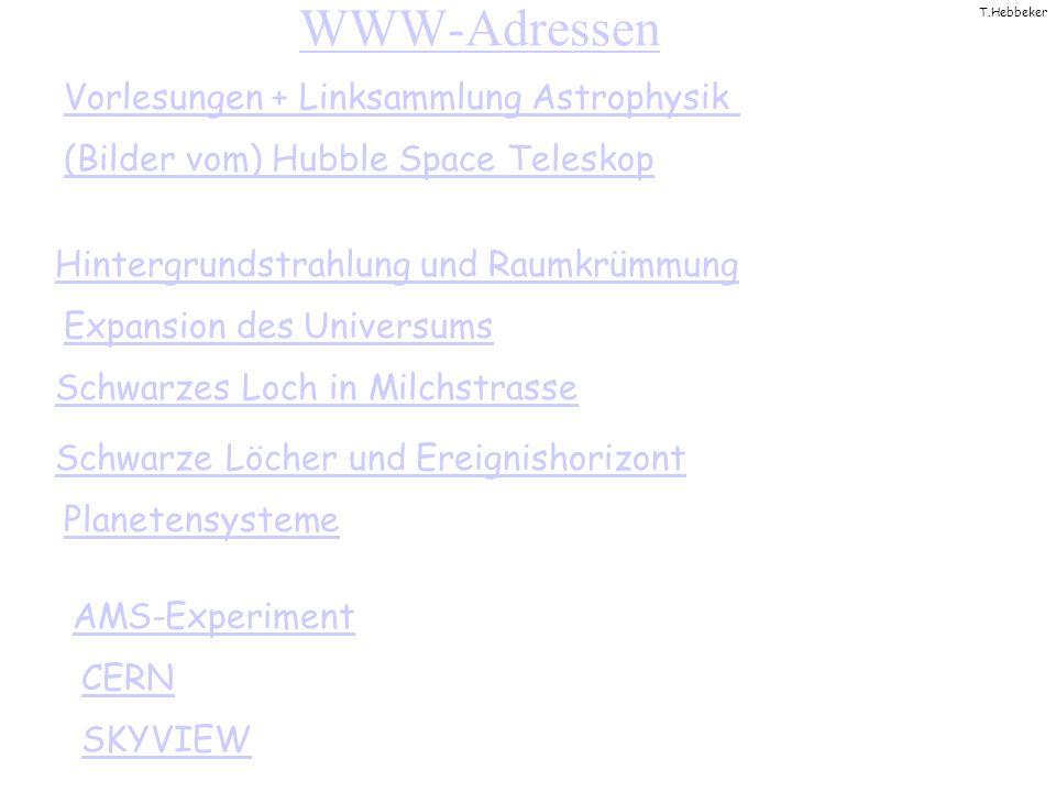 T.Hebbeker WWW-Adressen (Bilder vom) Hubble Space Teleskop Schwarzes Loch in Milchstrasse Vorlesungen + Linksammlung Astrophysik AMS-Experiment CERN SKYVIEW Expansion des Universums Hintergrundstrahlung und Raumkrümmung Schwarze Löcher und Ereignishorizont Planetensysteme