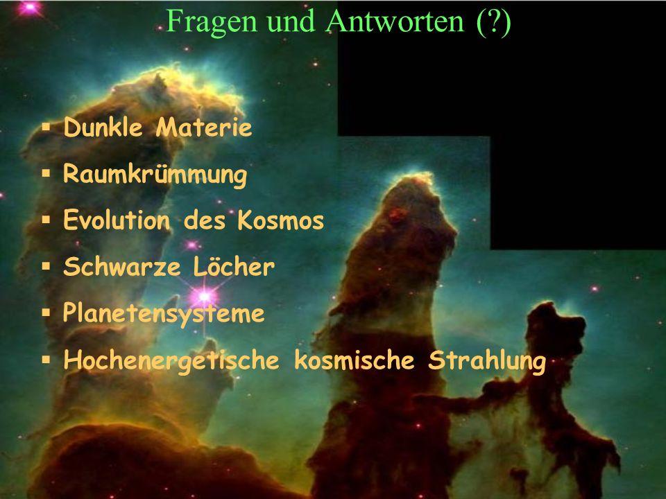 T.Hebbeker Fragen und Antworten (?) Dunkle Materie Raumkrümmung Evolution des Kosmos Schwarze Löcher Planetensysteme Hochenergetische kosmische Strahlung