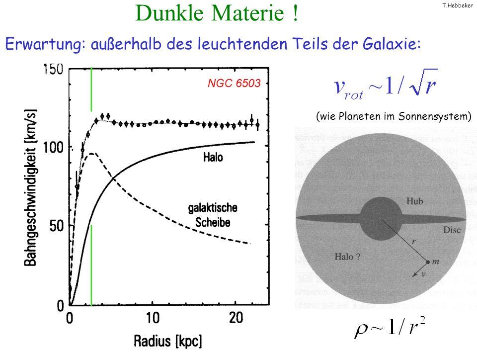 T.Hebbeker Dunkle Materie ! Erwartung: außerhalb des leuchtenden Teils der Galaxie: (wie Planeten im Sonnensystem)