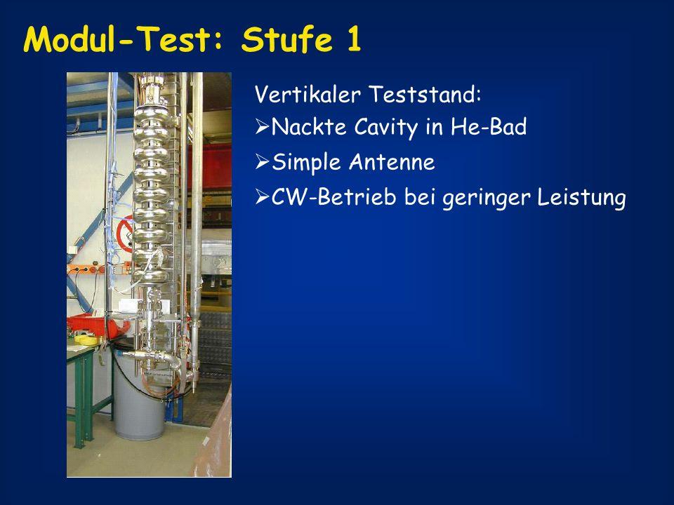 Modul-Test: Stufe 1 Vertikaler Teststand: Nackte Cavity in He-Bad Simple Antenne CW-Betrieb bei geringer Leistung