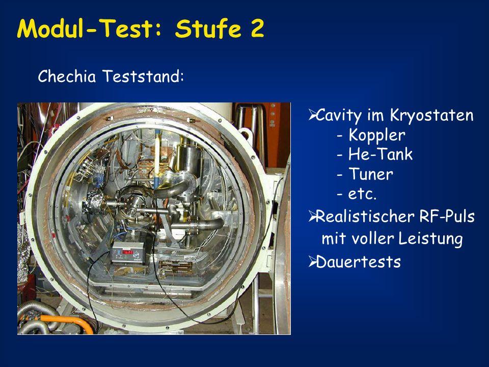Modul-Test: Stufe 2 Chechia Teststand: Cavity im Kryostaten - Koppler - He-Tank - Tuner - etc. Realistischer RF-Puls mit voller Leistung Dauertests